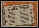 1972 Topps #96   -  Vida Blue / Joe Coleman / Mickey Lolich AL Strikeout Leaders   Back Thumbnail