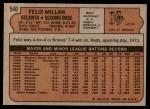 1972 Topps #540  Felix Millan  Back Thumbnail