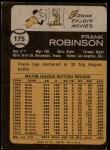 1973 Topps #175  Frank Robinson  Back Thumbnail