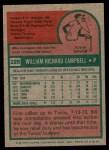 1975 Topps #226  Bill Campbell  Back Thumbnail