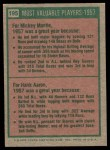 1975 Topps #195   -  Mickey Mantle / Hank Aaron 1957 MVPs Back Thumbnail