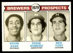 1979 Topps #708   -  Kevin Bass / Eddie Romero / Ned Yost Brewers Prospects Front Thumbnail