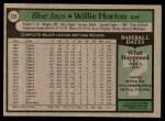 1979 Topps #239  Willie Horton  Back Thumbnail