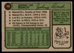1974 Topps #10  Johnny Bench  Back Thumbnail