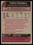 1977 Topps #293  Tom Owen  Back Thumbnail