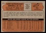1972 Topps #211  Gary Sutherland  Back Thumbnail