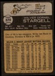 1973 Topps #370  Willie Stargell  Back Thumbnail