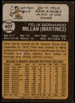 1973 Topps #407  Felix Millan  Back Thumbnail