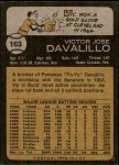1973 Topps #163  Vic Davalillo  Back Thumbnail