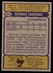 1979 Topps #212  Herman Edwards  Back Thumbnail