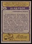 1979 Topps #15  Alan Page  Back Thumbnail