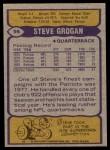 1979 Topps #95  Steve Grogan  Back Thumbnail