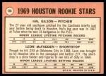 1969 Topps #156   -   Hal Gilson / Leon McFadden Astros Rookies Back Thumbnail