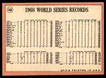 1969 Topps #169   -  Dick McAuliffe / Denny McLain / Willie Horton 1968 World Series Summary - Tigers Celebrate Their Victory Back Thumbnail
