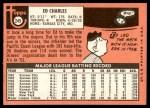 1969 Topps #245  Ed Charles  Back Thumbnail