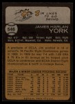 1973 Topps #546  Jim York  Back Thumbnail