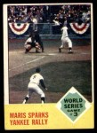 1963 Topps #144   -  Roger Maris / Elston Howard / Ed Bailey 1962 World Series - Game #3 - Maris Sparks Yankee Rally Front Thumbnail
