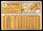 1963 Topps #180  Bill Skowron  Back Thumbnail