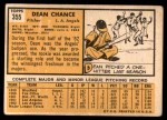 1963 Topps #355  Dean Chance  Back Thumbnail