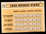 1963 Topps #496   -  Jack Smith / Carl Bouldin / Steve Dalkowski / Fred Newman Rookie Stars   Back Thumbnail