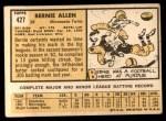 1963 Topps #427  Bernie Allen  Back Thumbnail