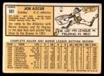 1963 Topps #501  Joe Azcue  Back Thumbnail