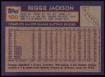 1984 Topps #100  Reggie Jackson  Back Thumbnail