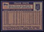 1984 Topps #155  Frank White  Back Thumbnail