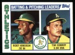 1984 Topps #156   -  Rickey Henderson / Tim Conroy A's Leaders & Checklist Front Thumbnail