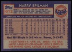 1984 Topps #612  Harry Spilman  Back Thumbnail