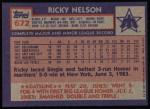 1984 Topps #672  Ricky Nelson  Back Thumbnail