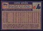 1984 Topps #678  Chris Speier  Back Thumbnail