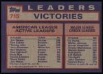 1984 Topps #715  Jim Palmer / Don Sutton / Tommy John  Back Thumbnail