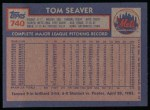 1984 Topps #740  Tom Seaver  Back Thumbnail