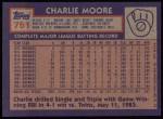 1984 Topps #751  Charlie Moore  Back Thumbnail