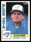 1984 Topps #202  Bobby Cox  Front Thumbnail