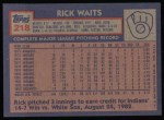 1984 Topps #218  Rick Waits  Back Thumbnail