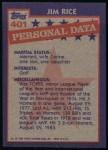 1984 Topps #401   -  Jim Rice All-Star Back Thumbnail