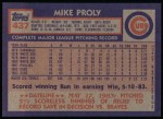1984 Topps #437  Mike Proly  Back Thumbnail
