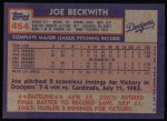 1984 Topps #454  Joe Beckwith  Back Thumbnail
