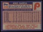 1984 Topps #458  Kiko Garcia  Back Thumbnail