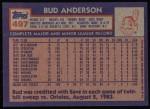 1984 Topps #497  Bud Anderson  Back Thumbnail