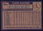 1984 Topps #514  Floyd Rayford  Back Thumbnail