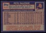 1984 Topps #521  Pete Falcone  Back Thumbnail