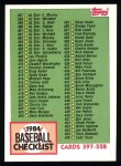1984 Topps #527  Checklist  Front Thumbnail