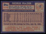 1984 Topps #539  George Frazier  Back Thumbnail