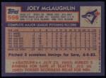 1984 Topps #556  Joey McLaughlin  Back Thumbnail