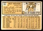 1963 Topps #353  Billy Williams  Back Thumbnail