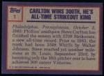 1984 Topps #1   -  Steve Carlton Highlight - 300th Win Back Thumbnail