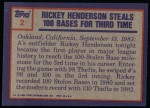 1984 Topps #2   -  Rickey Henderson Highlight - 100 SBs for 3rd Time Back Thumbnail